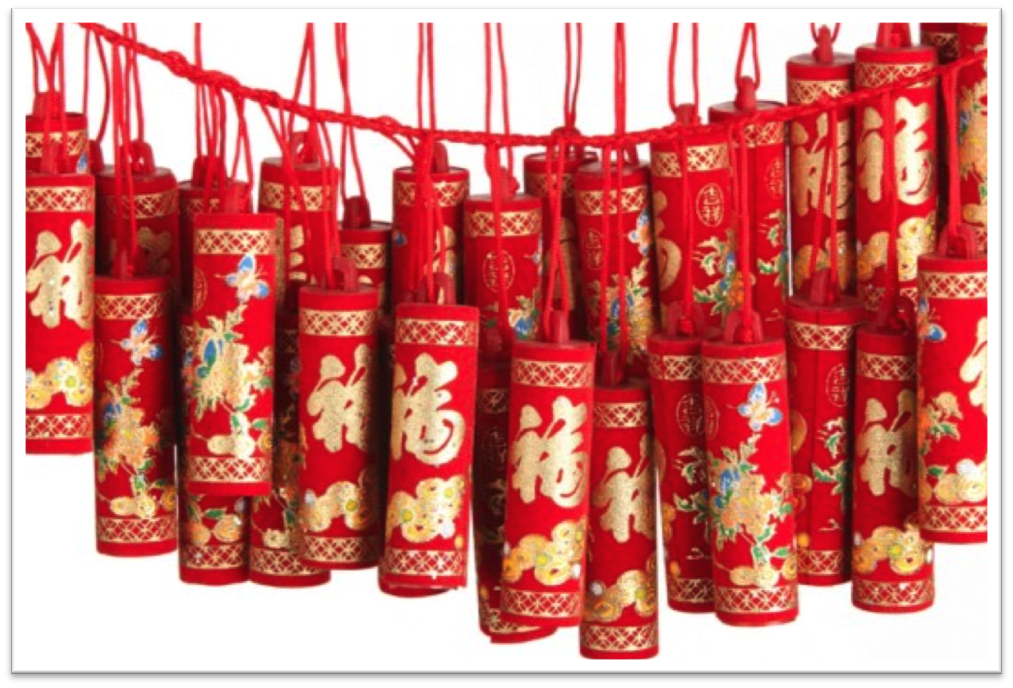 Even the firecrackers are wrapped in red packaging. Can't take any chances when it comes to scaring bad spirits away.