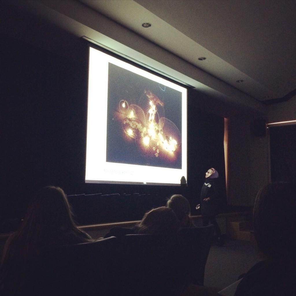 Giving a presentation on contemporary Emirati art.