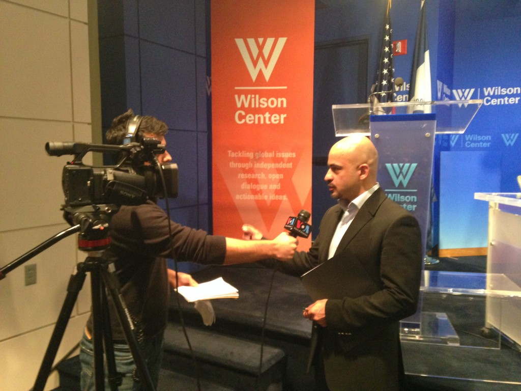 Mustafa being interviewed by Voice of America.
