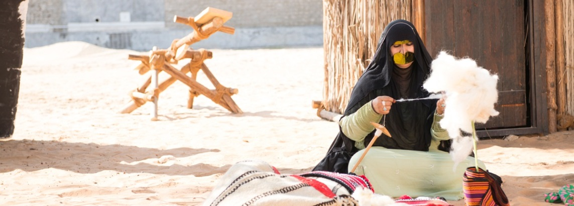 Visitors can watch how Al Sadu, a traditional form of weaving, is made. Al Sadu is used to produce furnishings and decorative accessories for camels and horses/Courtesy of Qasr Al Hosn Festival.