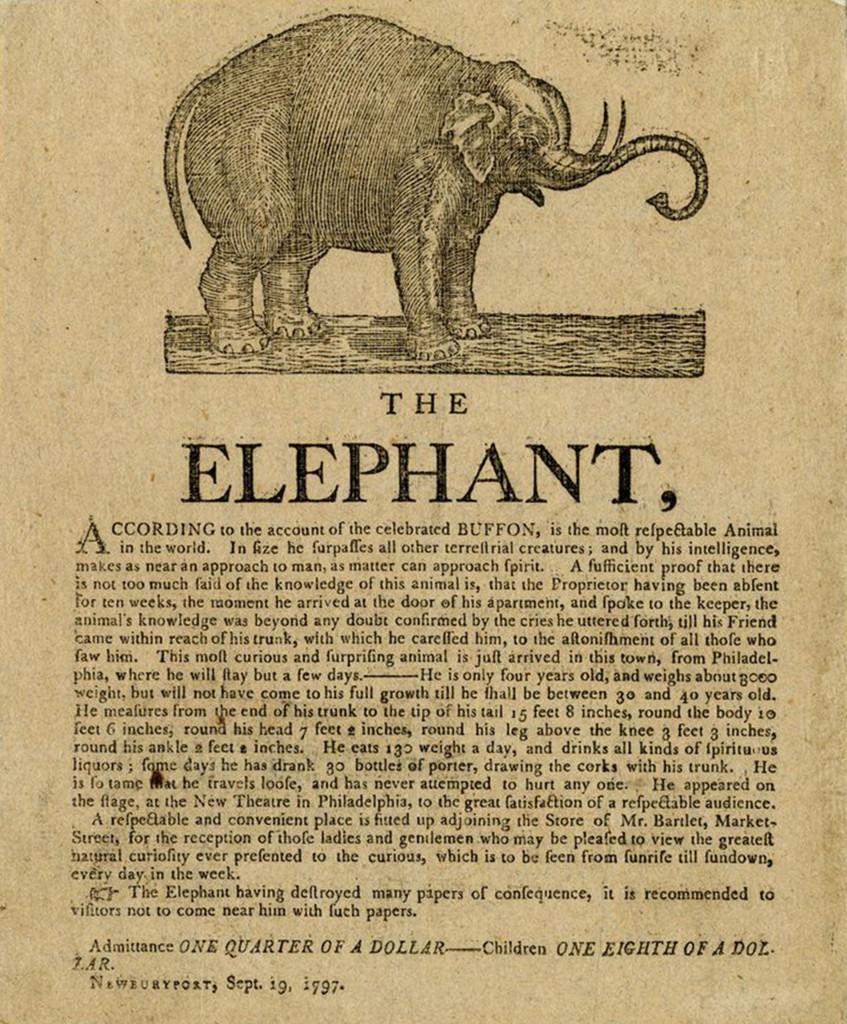 """""""The Elephant"""" broadside, 1797"""