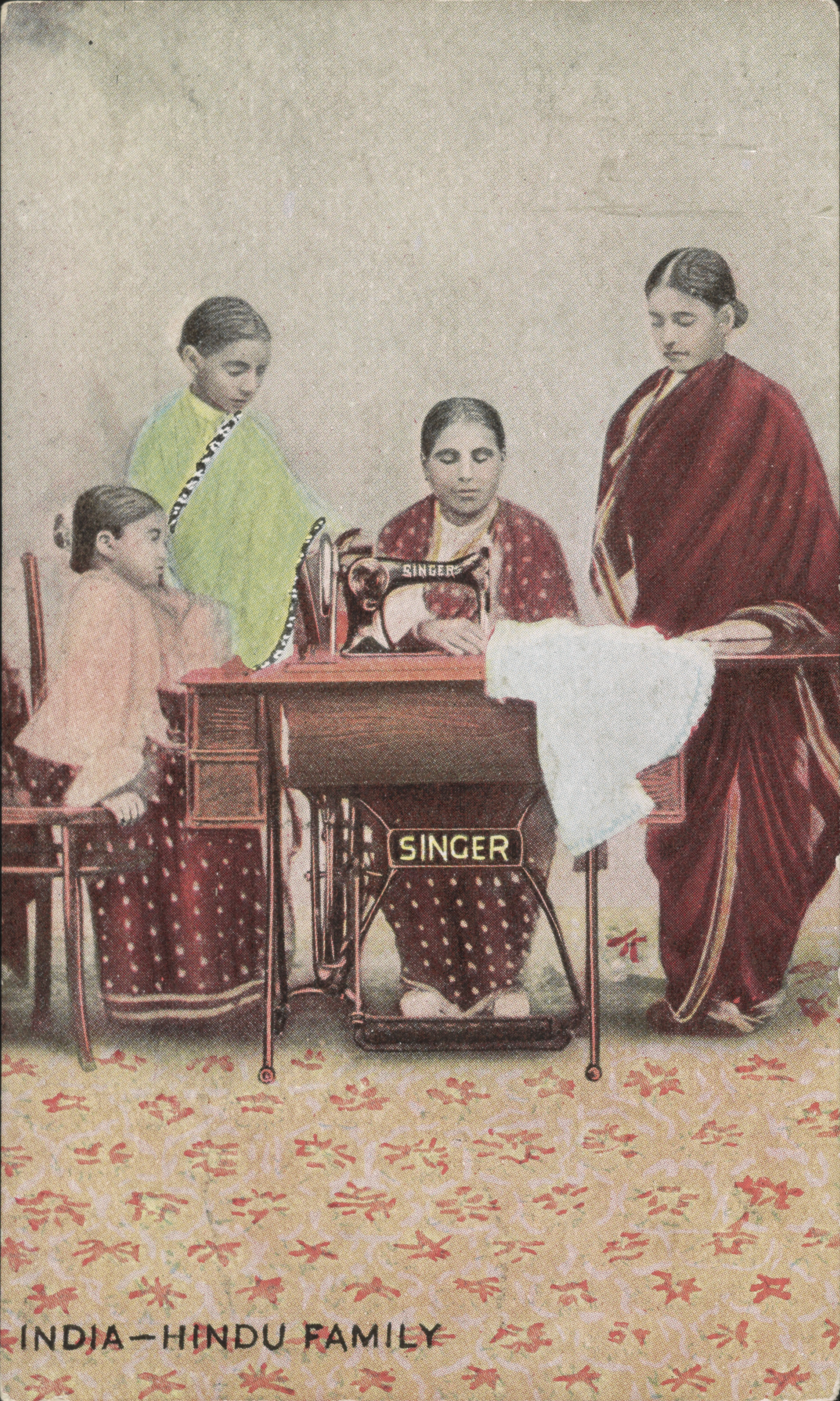 """Singer Manufacturing Company's """"India – Hindu Family"""" card, 1897"""