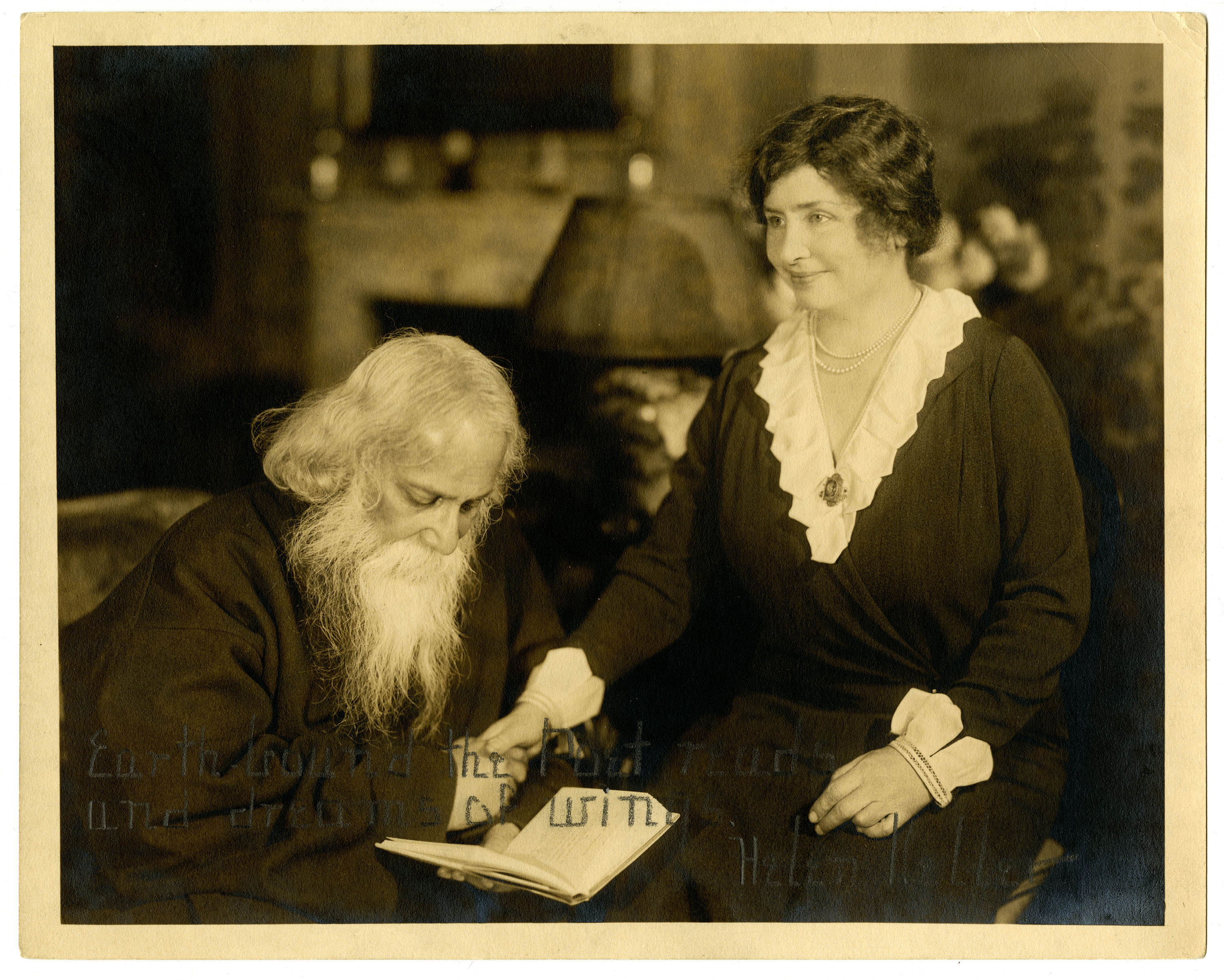Helen Keller meets with Rabindranath Tagore, 1921 New York, New York