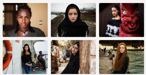 Images of women taken during Noroc's visits to Ethiopia, Romania, New Zealand, Indonesia, Iran, and USA/Courtesy Mihaela Noroc.