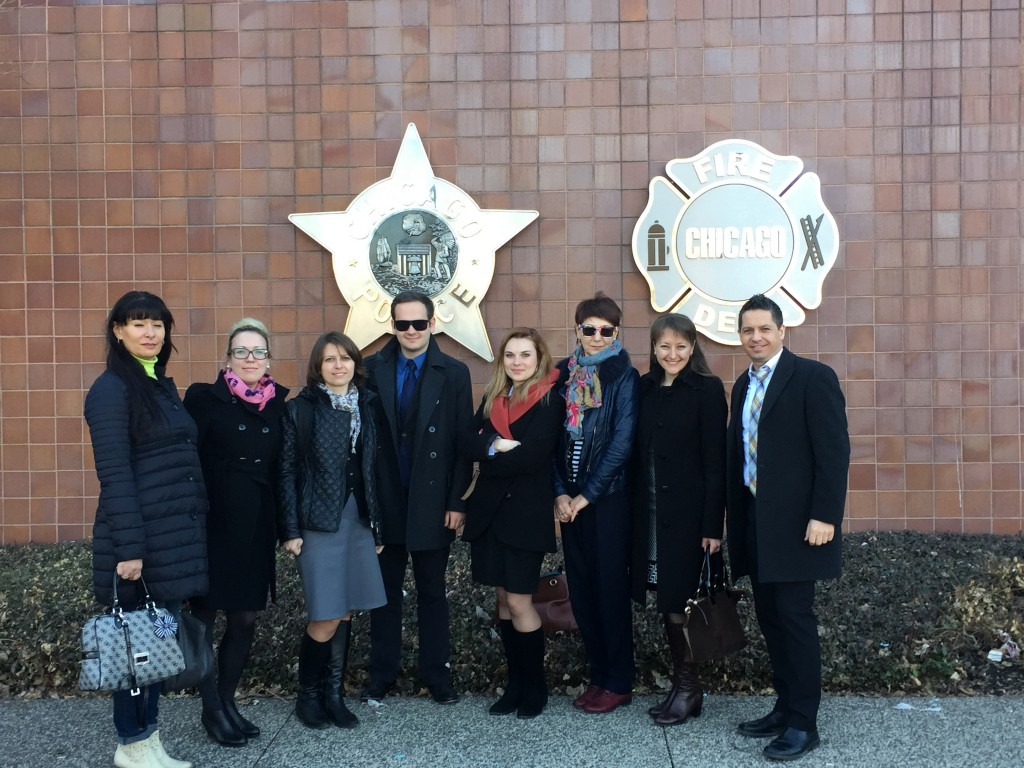 The participants following their meeting with the spokesperson for the Chicago Police Department.