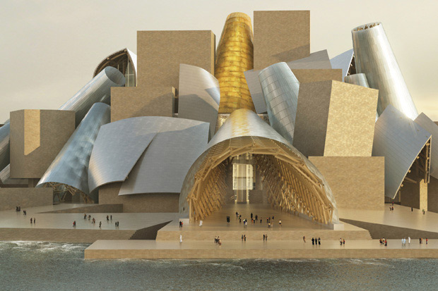 Designed by American architect Frank Gehry, Guggenheim Abu Dhabi's cones recall the region's ancient wind towers, which both ventilate and shade the museum's exterior courtyards in a fitting blend of Arabian tradition and modern design/Courtesy of Frank Gehry and ArteFactoryLab.