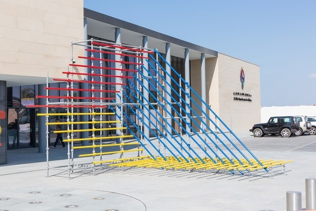 Stand Here, a public sculpture by artist Shaikha Al Mazrou/Courtesy of Lawrie Shabibi and Shaikha Al Mazrou.