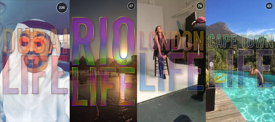 "Snapshots of Dubai, Rio, London, and Cape Town, part of the ""Life"" series by Snapchat/Courtesy of Jess Wojdylo (http://wojdylosocialmedia.com)"