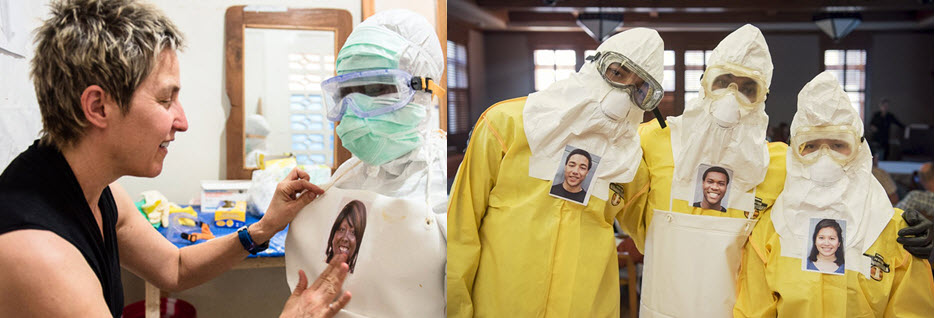Left: Art professor Mary Beth Heffernan puts a portrait-on-a-sticker on nurse Zoe Dewalt's protective suit. Right: Occidental students Kai Foster, Edward Jackson, and Stephanie Wong participate in Mary Beth Heffernan's trial run/Courtesy of Marc Campos