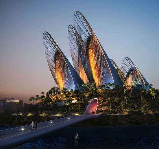 The building is designed to minimize energy usage by incorporating natural ventilation and lighting in the five towers, and will have photovoltaic panels and heat exchange technologies/Courtesy of Saadiyat Cultural District.