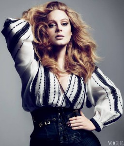 Adele wearing a Tom Ford top, inspired by IA, the Romanian blouse. Vogue US, 2012.