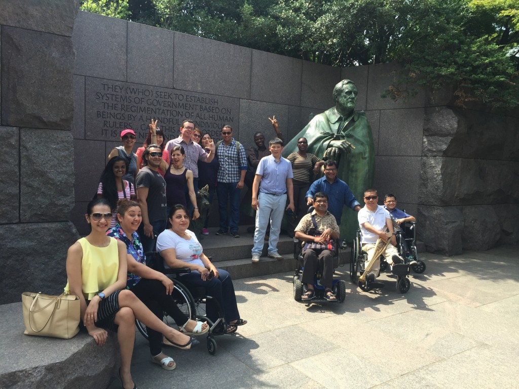 """""""Access for All: Enhancing the Lives of People with Disabilities"""" participants at the President Franklin Delano Roosevelt Memorial, Washington, D.C., July 12, 2015"""