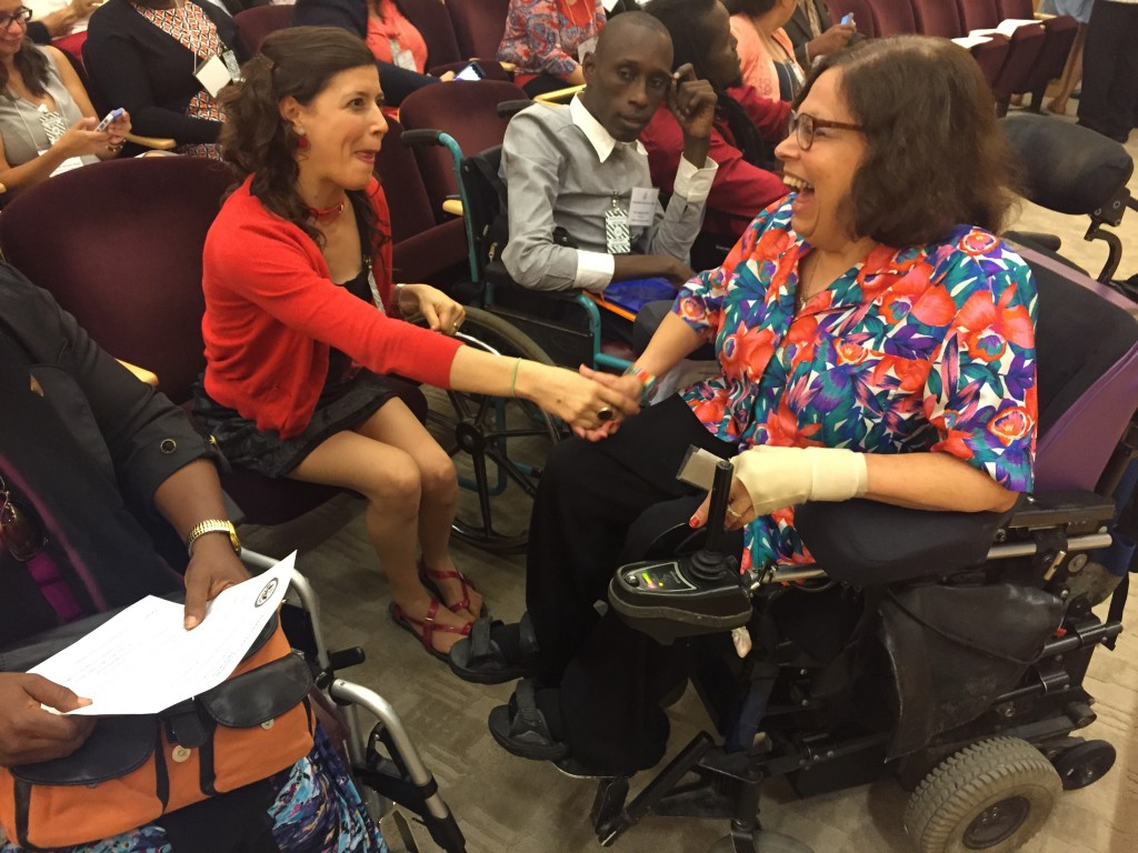 """""""Access for All"""" IVLP participant from Chile, Elvira Quiroz de Pauw enjoys a laugh with Special Advisor for Disability Rights Judy Heumann at U.S. Department of State event in Washington, D.C., July 15, 2015."""