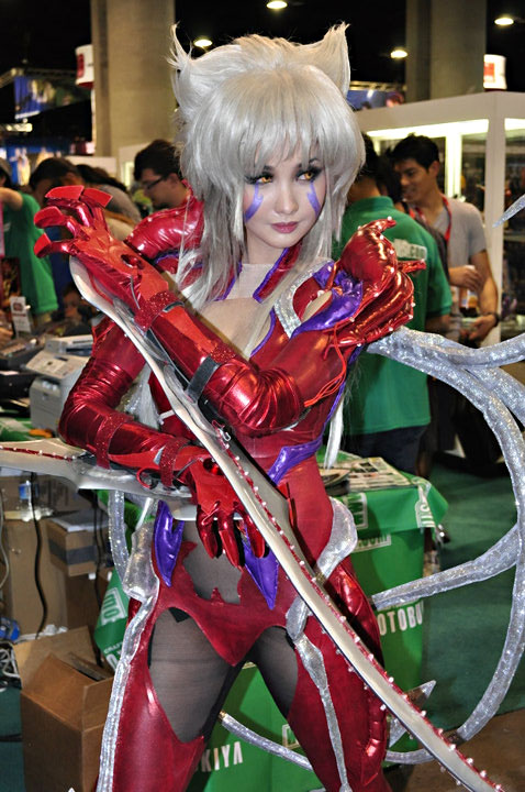 "Alodia Gosiengfiao cosplays, or costume plays, ""Amaha Masane"" from the anime series Witchblade at the 2010 San Diego Comic-Con. Photo courtesy of Erskine Manglicmot."