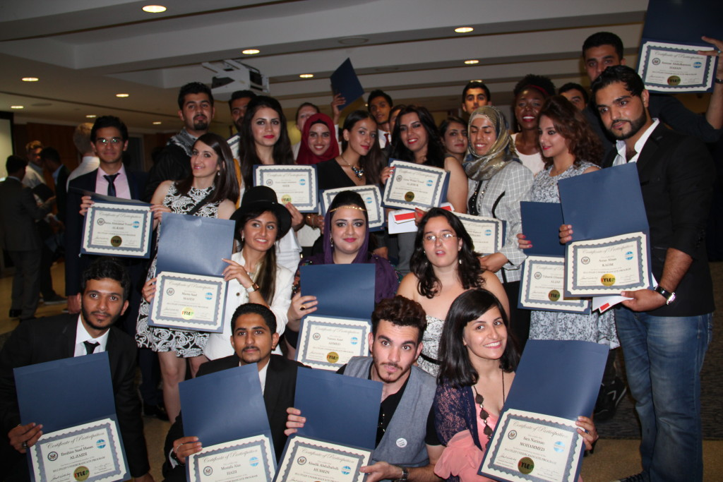 Iraqi Youth Leaders Exchange Program (IYLEP) participants pose for a photograph during the closing ceremony.
