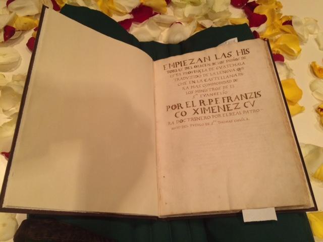 Francisco Ximénez's original copy of the Popol Vuh.