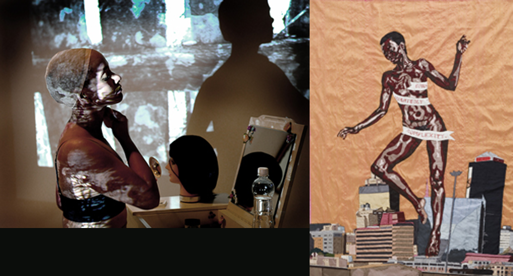 The Frac Lorraine hosts an exhibition to consider the world through the lens of African feminism.  Above Left: Miriam Syowia Kyambi, Fracture (i), 2011-15. Photo : Marko Kivioja, Terhi Vaatti & Anni Kivioja, Kouvola Art Museum Poikilo, Finland. Courtesy l'artiste / Courtesy the artist.; Above Right: Billie Zangewa, The Rebirth of the Black Venus, 2010, Private collection.