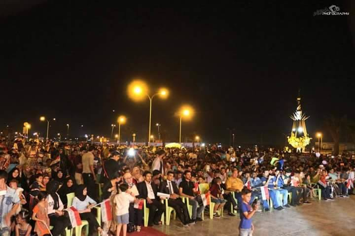 Crowds gather at the Basra City of Peace Festival.