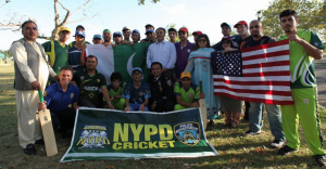 The group after a lively cricket match in Queens