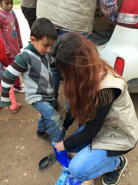 Humanity delivering shoes to children in Syria.