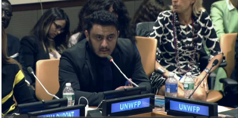 Thamer Alyas speaking at the United Nations in New York City