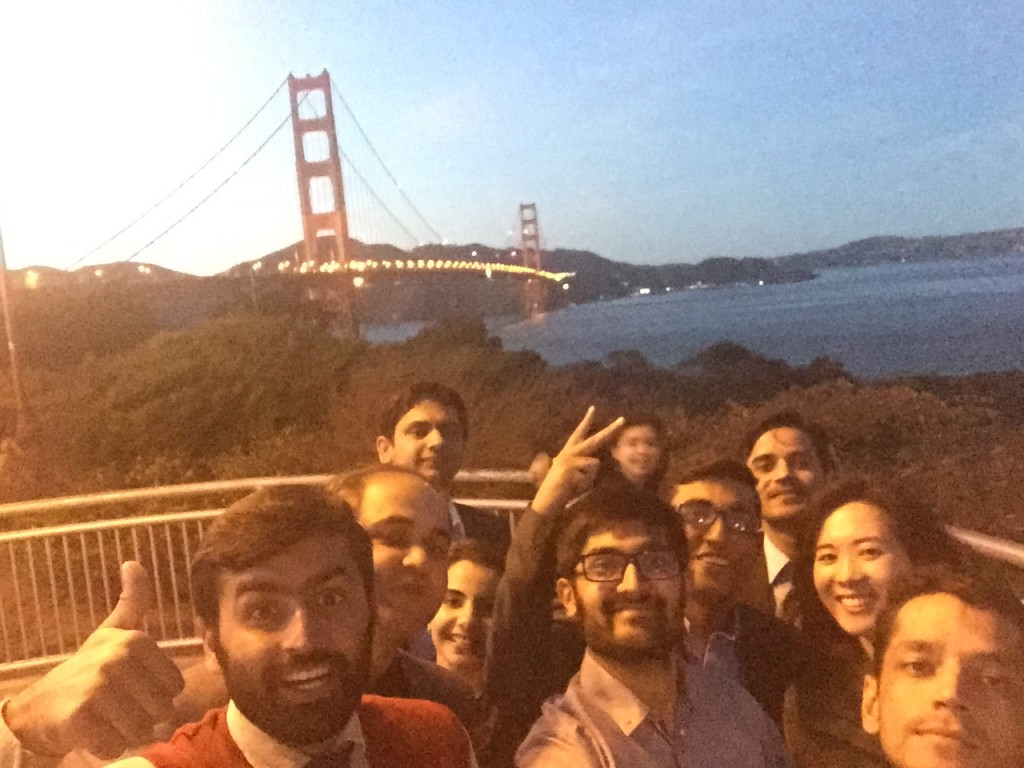 One of our better attempts at a selfie in front of the Golden Gate Bridge.