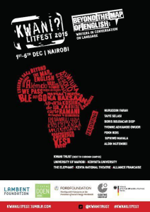 Poster for the Kwani? Litfest, an event that sculpts the future of contemporary African literature.