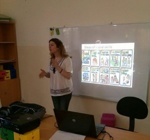 Ms. Maya Yamout, from Lebanon, conducts a training session at Rescue Me.