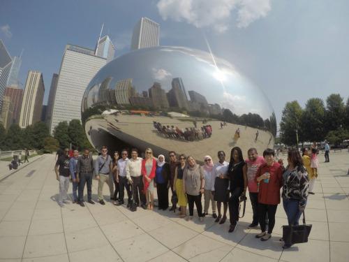 (IVLP participants at Millennium Park, Chicago.)