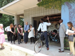 Portuguese visitors enjoy some fresh air as they learn about the Clarkston Community Center's Bike Co-op program.