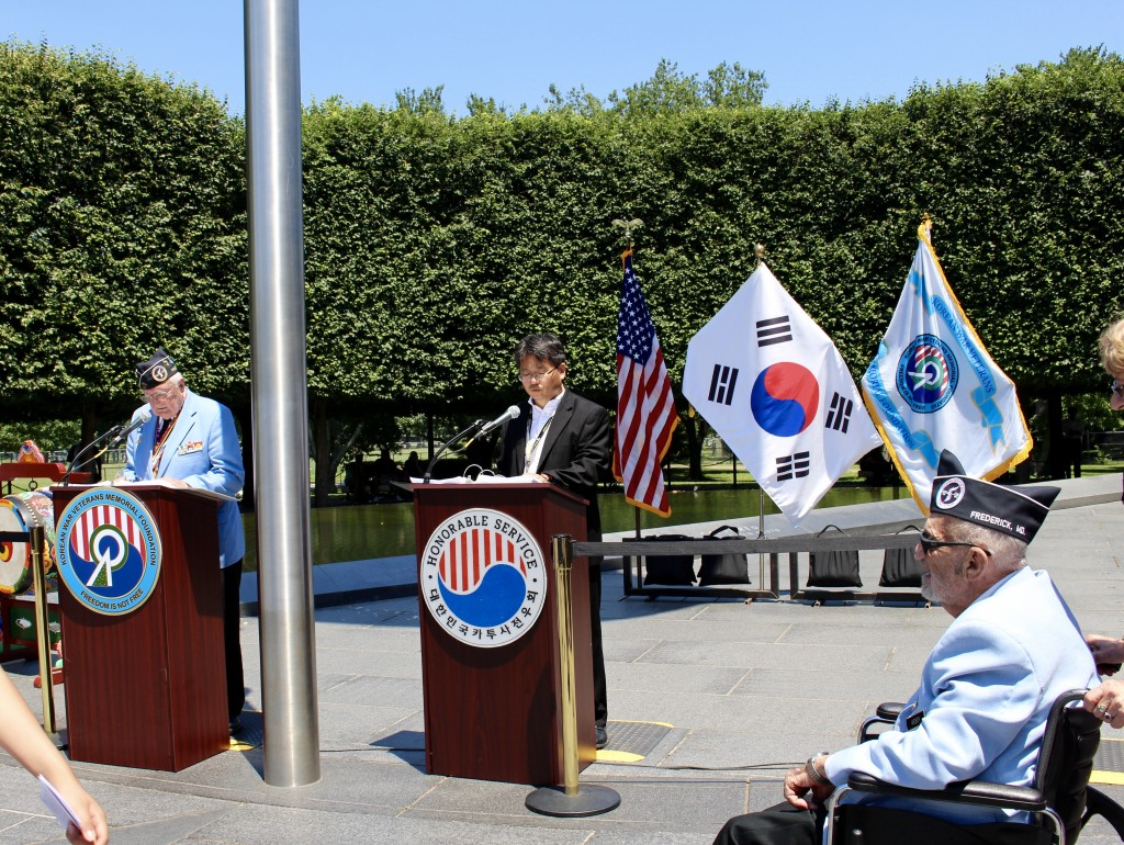 The members of the Korean War Veterans Memorial Foundation calling out names of KATUSA soldiers.