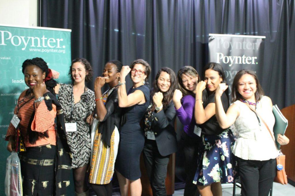 Shared girl power among Western Hemisphere journalists visiting the Poynter Institute.