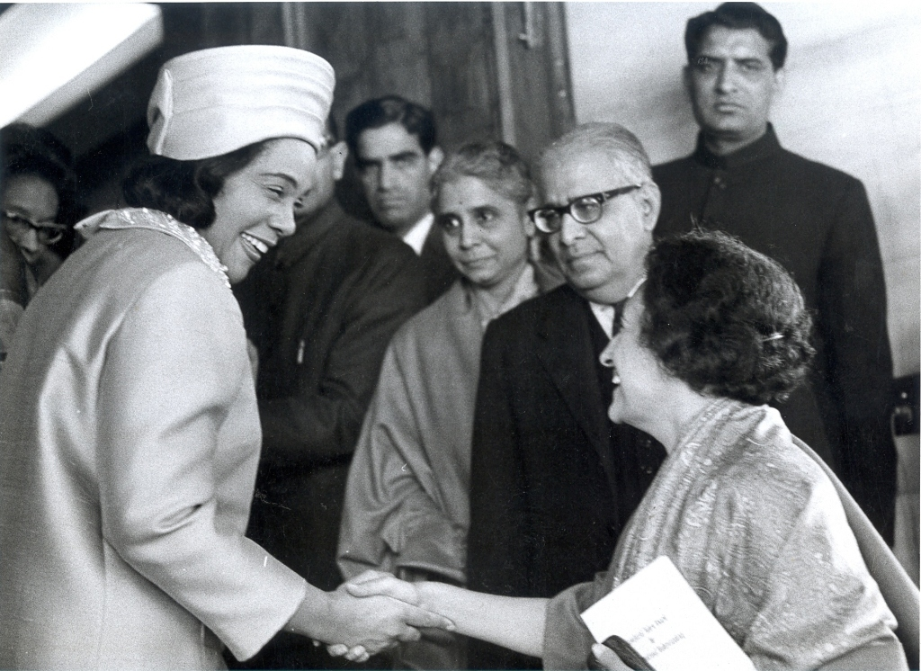 Mrs. Coretta King, wife of U.S. Civil Rights Leader Martin Luther King, Jr. shaking hands with Prime Minister Indira Gandhi on January 24, 1969.