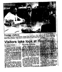 "From the Grand Island Independent: ""Dominican Republic Congressman Abigail Soto and Danilo [Soto] discuss their government with Mayor Ernie Dobesh."""