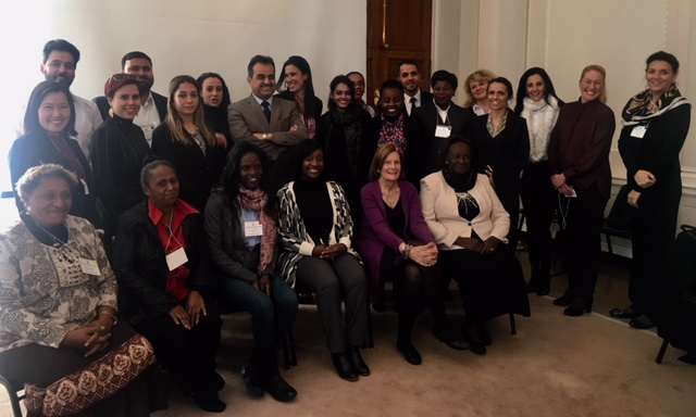 Ms. Stephenie Foster and the participants from 'The U.S. Justice System - Protecting Women and Children' International Visitor Leadership Program. Post credit to Ms. Stephenie Foster.